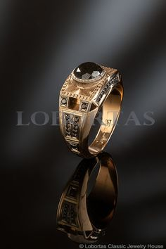 1.76 Carat Black Diamond Gold Ring