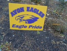 Rally signs are posted all about Avon in anticipation of Friday's playoff game.  The Avon Eagles play the Perrysburg Yellow Jackets at Kalahari Field in Huron, Ohio on 11/15/13.
