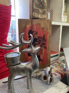Reindeer, Candle Holders, Christmas Gifts, Candles, Gift Ideas, Table, Painting, Art, Xmas Gifts