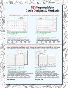 NEW Imprinted Adult Doodle Desk Pads & Notebooks