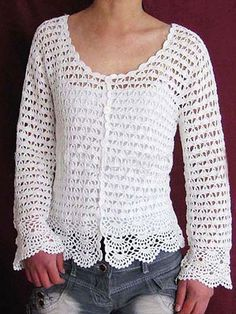 Crochet: Link to free patterns for Women's Cardigans and Sweaters.