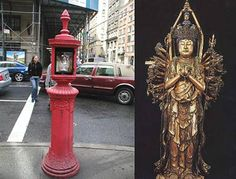 """This style of fire call box which is all over New York, reminds me of Japanese Buddhist sculptures of Kannon, Goddess of Mercy. (note: the Chinese style of Guan Yin is somewhat different) There is one example in my neighborhood that is particularly lovely -- very old with peeling paint -- that is, to me, so similar to various standing examples of this deity. Similarities in form: the """"pose,"""" the overall boxy shape, the surface texture, the crowning finial."""