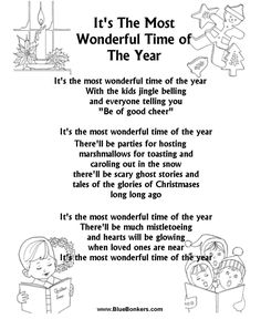 printable christmas carol lyrics sheet its the most wonderful time of the year christmas songs - Best Christmas Lyrics
