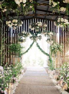 Gorgeous barn ceremony set-up