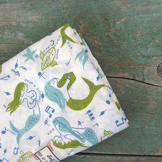 delightful vintage musical mermaid fabric