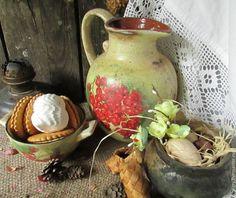"""Купить """"Смородиновый морс"""" кувшин и пиалка - бежевый, салатовый, красный, зеленый, белый, состаренный стиль"""