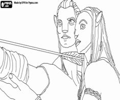 jake and neytiri launching an arrow coloring page