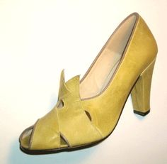 Remix Vintage Shoes, Myrna Peep Toe Heel in Soft Antique Yellow/Taupe Leather