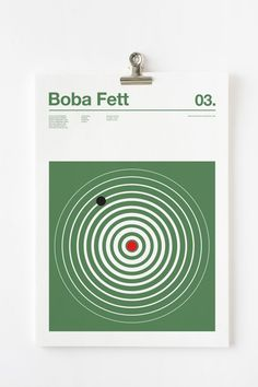 """Posters of Star Wars Characters Colors: Boba Fett  Graphic designer Nick Barclay, whose we already have talked about many times, comes back with the series of posters """"3 Colour Star Wars"""", devoted to the saga Star Wars and the three colors that define each character, like graphic and geometric pantones. The complete series is to discover in the following."""