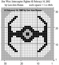 Free Crochet Patther for afghan block: Star Wars TIE (Twin Ion Engine) Interceptor Square