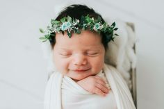 A leafy green halo with moss and mint star daisiesnewborn sizeImages by,Kimberly Tempas Photography Natalie Leech PhotographyKristen Koppers PhotographyJillian Greenhill PhotographyAndrea Colombi Photography