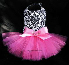 it has danmask pattern which is all over my house & Sadie's fave color which is pink! Dog Tutu Dress Damask with Hot Pink XXS XS by DoggieDivaBoutique Yorkie Clothes, Pet Clothes, Dog Clothing, Jupe Tutu Rose, Dog Dresses, Flower Girl Dresses, Pink Tutu Skirt, Robes Tutu, Dog Tutu
