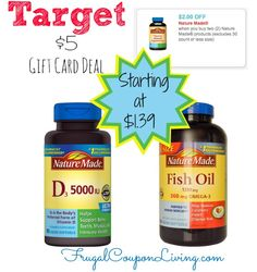 Nature Made Vitamins Coupon and  Target $5 Gift Card Deal #target #vitamin #naturemade