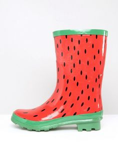 Discover the latest fashion and trends in menswear and womenswear at ASOS. Watermelon Shoes, Watermelon Painting, National Watermelon Day, Shiny Boots, Online Shop Kleidung, Asos Mode, Mode Online Shop, Dresses For Tweens, Wellies Boots