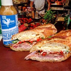 Monday's Special - think heat wave with @adoboloco pineapple hot sauce from good ol' Hawaii, ham, fancy aged cheddar (Stag), peppadews, shallots, basil & parsley, and a touch of mayo toasted on fresh baguette. Get over here, lunch! Soups are a corn chowder and a tomato basil. #winterwarmer #hawaii #stormjonas #whatsforlunch