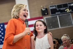 "Little girl made Hillary laugh when she asked during a town hall in Vegas - Aug 2015 ""If you're a girl President will you get paid as much as a boy President""  Hillary said it's one of those jobs where they have to pay you the same - but there are many there don't #IMWithHer"