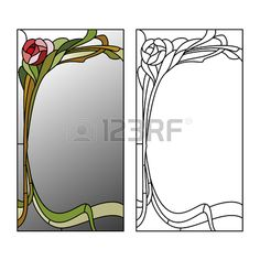 Illustration of Mirror framed stained glass with red roses vector art, clipart and stock vectors. Stained Glass Mirror, Stained Glass Flowers, Faux Stained Glass, Mirror Mosaic, Stained Glass Designs, Stained Glass Panels, Stained Glass Projects, Stained Glass Patterns, Mosaic Glass