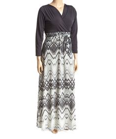 Another great find on #zulily! Black & Gray Geometric Surplice Maxi Skirt - Plus #zulilyfinds