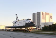 Space shuttle Atlantis make its way from the Vehicle Assembly Building to the Visitor Complex at the Kennedy Space Center 11/2/2012