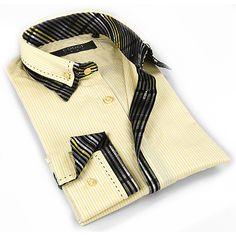 Coogi Luxe Men's Light / Black Button Down Dress Shirt
