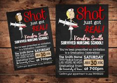 Nursing graduation announcement party invitation customize your the original shot just got real nurse by reigningparties on etsy filmwisefo
