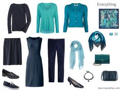 12 Months, 12 Outfits: March;navy and teal, and turquoise,