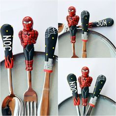 Spiderman Silverware set Kids Gift for Dad or Boy Unique Cutlery Gray Red Spoon Fork Knife Polymer clay Children Flatware Set by RadArta  (This kit