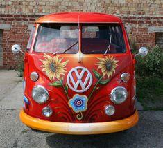 vw camper van bus sunflowers on red. Volkswagen Transporter, Transporteur Volkswagen, Volkswagen Bus, Vw T1, Van Hippie, Kombi Hippie, Hippie Love, Hippie Style, Hippie Camper