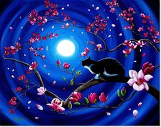Tuxedo Cat In A Japanese Magnolia Tree by Laura Iverson