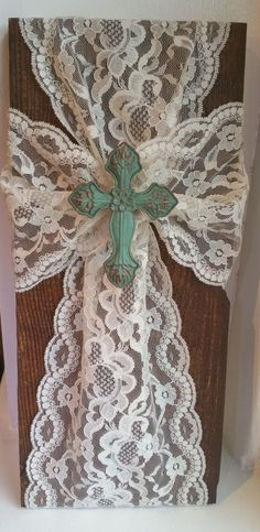 Handmade Rustic Wood and Lace Wall Cross - Elegant Wood Cross Christian Decor by CraftySignsByDee on Etsy