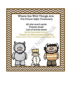 Wild Thing Pre-Primer Sight Vocabulary product from Preschool-Printable on TeachersNotebook.com