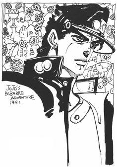 Araki Doodles - Part 3 - Stardust Crusaders Jojo's Bizarre Adventure, Jojo Parts, Jotaro Kujo, Jojo Anime, Jojo Bizarre, Art Reference, Manga Anime, Art Drawings, Doodles