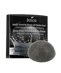 Boscia Konjac Cleansing Sponge with Bamboo Charcoal: Massaging your cleanser into your skin with the dampened sponge will not only remove makeup but also minimize pores and stimulate blood circulation for a healthy, glowing complexion.