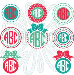 July 4th Monograms (Set of 6 Plus 2 Extra Bows) - Digital vector download for craft cutters (.SVG, .EPS, and .PNG format)