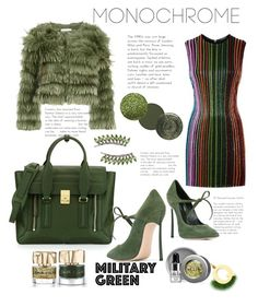 """Monocrome military green"" by ornellag ❤ liked on Polyvore featuring Balmain, Alice + Olivia, Casadei, 3.1 Phillip Lim, Fendi, RGB, Sidney Chung, Stila and Smith & Cult"
