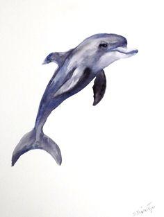 Dolphin original watercolor