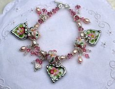 Broken China Bracelet China Heart Charms by Robinsnestcreation1, $86.95