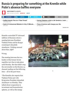 Russia is preparing for something at the Kremlin while Putin's absence baffles everyone http://www.businessinsider.com/whats-happening-with-putin-and-russia-2015-3#ixzz3UmDuWI20 14 marzo 2015