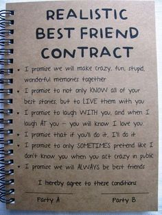 REALISTIC Best Friend Contract **PLEASE NOTE** Allow 1-3 business days for production before shipping. SIZE: 5 x 7 inches CARDSTOCK COVER WEIGHT: 80 C (similar to a paperback book cover) COVER COLORS AVAILABLE: Kraft Brown, Stardust White, Bright Pink, Red, Bright Orange, Bright Yellow, Bright Green, Bright Blue, Purple BACK COVER: Kraft Chipboard backing for durability while writing stamped with our company logo BINDING: Black twin loop, allows pages to lay flat while writing and give 360…