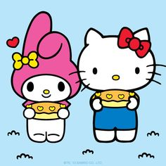 My Melody LOVES almond pound cake. Happy National Pound Cake Day, from My Melody and Hello Kitty!