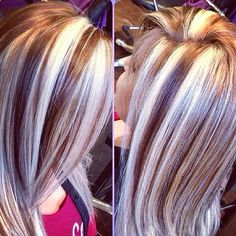 """With all the revolutionary changes in the history of women's hairstyles, hairstylists have published such amazing and differentRead More """"Chunky Highlights Hair Color Ideas"""" Love Hair, Great Hair, Gorgeous Hair, Chunky Blonde Highlights, Hair Color Highlights, Caramel Highlights, Platinum Highlights, Peekaboo Highlights, Red Blonde"""