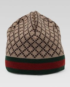Diamante-Pattern Knit Hat with Web Detail by Gucci at Neiman Marcus.
