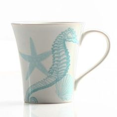 Coastal Life Seahorse Mug in Teal Blue Handcrafted from high-quality stoneware, this unique seahorse mug elicits a coastal aura. Beautifully decorated in a light teal blue color, this mug features a starfish to bring the essence of the beach to your home. Beach Cottage Style, Coastal Cottage, Beach House Decor, Coastal Decor, Coastal Living, Coastal Style, Nautical Dishes, Color Me Mine, Teal Blue Color