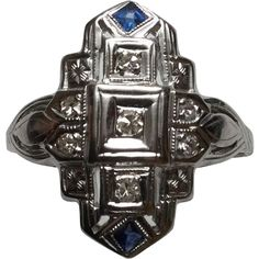 Art Deco 18K White Gold Diamond Sapphire Ring Size 6.75 from ctgoldcustomers on Ruby Lane
