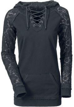 Black Hoodie With Lace Sleeves