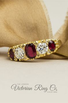 This ruby and diamond half hoop ring has been expertly carved in the Victorian style. The ring is set with three oval/cushion-shape rubies alternating with two Victorian/Old-cut diamonds. Eight diamond points are set either side of the larger gemstones. All rings are true to the original designs of their era. All gemstones are natural. #halfhoopring #victorianstylejewellery #ovalrubyring #rubyengagementring #engravedrings Engagement Rings On Finger, Victorian Engagement Rings, Country Rings, Jewelry Insurance, Three Stone Rings, Rings Cool, Engraved Rings, Conflict Free Diamonds, Gold Bands