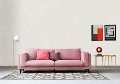 think pink | minimal industrial style living room with white washed walls and concrete floors | pink sofa with a flos lamp beside it | Get the look with an IKEA Nockeby sofa and a Bemz cover in Rose Brunna Melange from our Respect collection made from 100% recycled material