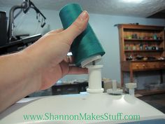 Good tip on using an empty spool to secure the serger thread.