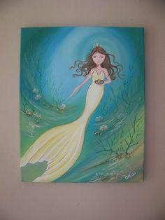 "Mermaid Painting Canvas 16"" x 20"" Art Ocean Starfish Shell Nautical Beach Decor | eBay"