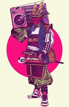 Hip-Hop Samurai by Mike Wrobel |  + https://society6.com/product/hip-hop-samurai_print?curator=yellowmenace#s6-3154614p4a1v3 |  #Yellowmenace  #Samurai
